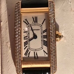 Womens Cartier Double Row Diamond Américaine Tank